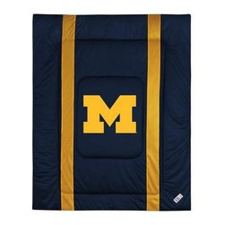 Sports Coverage - Michigan Wolverines Bedding - NCAA Sidelines Comforter - Full - Show your team spirit with this great looking officially licensed Michigan Wolverines comforter which comes in new design with sidelines. This comforter is made from 100% Polyester Jersey Mesh - just like what the players wear. The fill is 100% Polyester batting for warmth and comfort. Featuring authentic Michigan Wolverines team colors, each comforter has the authentic Michigan Wolverines logo screen printed in the center. Soft but durable. Machine washable in cold water. Tumble dry in low heat. Covers are 100% Polyester Jersey top side and Poly/Cotton bottom side. Each comforter has the team logo centered on solid background in team colors. 5.5 oz. Bonded polyester batts. Looks and feels like a real jersey!