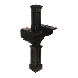 Mayne Inc. - Rockport Double Mail, Black - Double It Up...Ideal for sharing, or multi-family units. This classic will stand the test of time and the test of kids. Installs easily over a standard  4x4 wood post. Mayne plastic mail posts are made from high quality polyethylene with built in UV inhibitors for long lasting protection from the elements. Includes decorative post and 2x mailbox support arms with paper holder. Medium mailbox recommended, minimum 6 1/2 inch width. Best suited for mailboxes weighing less than 8lbs.