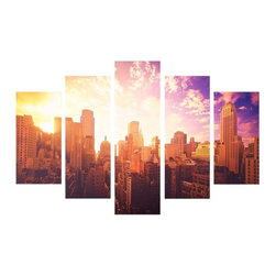 Graham & Brown - Good Morning New York Canvas Wall Art - Set of 5 Multicolor - 40-407 - Shop for Framed Art and Posters from Hayneedle.com! The contemporary Good Morning New York Canvas Wall Art Set of 5 feels like having the most gorgeous (and expensive) view in the entire city! This envious sight is a creative display comprising multiple canvases printed with a photograph of Gotham's cityscape illuminated by the golden and violet hues of a setting sun. There are five panels in all one large one medium and two small for a really dynamic presentation.About Graham & BrownAbout Graham & BrownFounded in 1946 by friends Harold Graham and Henry Brown Graham & Brown has always been about brightening the home. From modest beginnings with surplus metallic paper and an embossing machine Graham & Brown has grown to include a range of products such as Superfresco - easy to hang and able to be painted or washed - and other paste the wall products that allow homeowners greater ease in hanging wallpaper themselves. The company's product line today includes wall art paint and children's decor in addition to its famous wallpaper.
