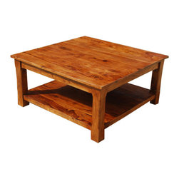 Sierra Living Concepts - Large Square Coffee Table 2 Tier Solid Wood Furniture - Finally a coffee table that fits today's lifestyle!