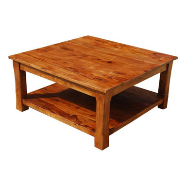 Sierra Living Concepts - Large Square Coffee Table, 2 Tier, Solid Wood Furniture - Finally a coffee table that fits today's lifestyle!