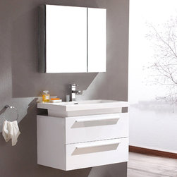 Fresca - Fresca Medio White Modern Bathroom Vanity w/ Medicine Cabinet - Combining stylish looks with practicality, the Medio vanity from Fresca provides a superb storage solution for your bathroom essentials. Sleek and modern, this vanity with White finish has a wall mounted design to enhance a sense of space. Supplied with the acrylic sink, this vanity with soft close drawers also comes complete with the mirrored medicine cabinet, which creates extra storage. Medio Bathroom Vanity Details:   Dimensions: Vanity: 31 3/8W x 18 3/4D x 24H, Mirror: 29 1/2W x 26H x 5D  Material: MDF with Acrylic Countertop/Sink with Overflow Finish: White Soft closing drawers Includes medicine cabinet Single hole faucet mount. Please note: faucet not included