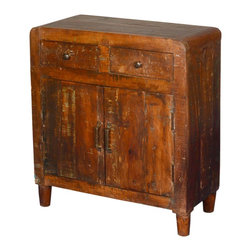 """Sierra Living Concepts - Appalachian Distressed Reclaimed Wood Kitchen Buffet Cabinet - If you want your living space to be relaxed and easy, you'll love our Rustic 28"""" wide standing Mini Buffet. The old fashion design includes rounded corners, classic hardware and round tapered legs. It's a great kitchen cabinet with two top drawers and a large 2-shelf cupboard."""