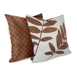 """Inhabit - Leaf Throw Pillow - Add a decorative accent to your bedding set with the Leaf Throw Pillow. This pillow was picked as a winner in Inhabit's Great Pillow Design competition which featured many great designs from emerging designers all around the world. In a soft pale blue hue, this pillow is accented by chocolate brown leafs and has a reverse geometric pattern with a mix of copper and deep brown hues set on silky sateen. Features: -Made with environmentally friendly inks with no chemical waste or disposal generated -Zipper closure for easy removal and cleaning -Made in the USA -Overall Dimensions: 18"""" H x 18"""" W -Please Note: Most Inhabit items are made to order, so items can not be cancelled more than 24 hours after orders are placed Fabric Details: -Front Fabric: Handprinted retrosuede -Back Fabric: Handprinted silk sateen -Pillow Insert: Cotton cover with hypoallergenic synthetic fill Care and Maintenance: Hand washing is recommended. Pillows can be machine washed with care. Use warm water on gentle with light colors. Do not wring or bleach the fabric. Press if needed."""