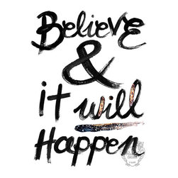 'Believe' Black and White Typographic Print by Rach Illustrates - I think typographic prints are so fun for the office or bathroom. They can be so inspirational on a down day.