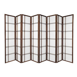 Oriental Furniture - 6 ft. Tall Double Cross Shoji Screen - Walnut - 8 Panels - This elegant folding screen takes a traditional Japanese design and updates it for the modern home. Shoji rice paper is a remarkable natural substance that is renowned for providing privacy without blocking ambient light. Set in a stylish spruce frame with a double cross design, this Shoji screen is a great way to divide a room, create a private space, or add a cosmopolitan accent to any style of decor.