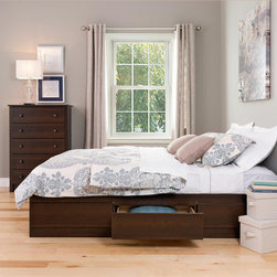 None - Espresso Full Mate's 6-drawer Platform Storage Bed - Experience style and functionality with this chic platform storage bed. It is made from composite woods and has an espresso-finished storage bed frame. It also features extra-deep drawers to accommodate clothing and other items for safe keeping.