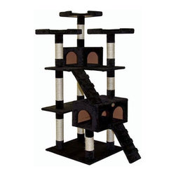 "Go Pet Club - 72"" Cat Tree Condo House - Features: -Cat tree.-Board material: Wood.-Covering material: Faux fur.-Posts covered by natural sisal rope.- Color: Beige.-Get your cat active and excited with the 72'' Cat Tree Condo House by Go Pet Club. With five stunning levels to play on, there is plenty of room on the tree for more than one cat to share the space while they jump, pounce and play their way up and down this tree. A fun faux mouse toy dangles from a platform, adding another option for play. Three tall platforms offer an excellent viewpoint for cats to perch and survey their domain, each one measuring 12.75 x 12.75 . One 10 H x 12 W x 12 D condo and one larger 11.75 H x 18 W x 12.5 D condo have doors and a window, and offer spaces for cats to retreat to and relax. Ten posts wrapped in natural sisal rope give your cat places to scratch and kneed, and prevents damage to your home, furniture, drapery or carpets. Two plush, faux fur ramp-style ladders make it easier for older cats to move between the levels of the 72'' Cat Tree Condo House. Beautifully designed in beige, black or brown, this large and sturdy 72'' H x 33'' W x 22'' D cat tree is built with larger cats in mind. Giving your cats a space of their own in your home, the 72'' Cat Tree Condo House is an excellent addition for your furry friends..-Distressed: No.Dimensions: -Base board dimensions: 23.5'' W x 21.5'' L.-Big condo dimensions: 11.75'' H x 18'' W x 12.5'' L.-Top condo dimensions: 10'' H x 12'' W x 12'' L.-Top 3 perches dimensions: 2.25'' H x 12.75'' W x 12.75'' L.-Dimensions: 72'' H x 33'' W x 22'' L.-Overall Height - Top to Bottom: 72.-Overall Width - Side to Side: 72.-Overall Depth - Front to Back: 22.-Overall Product Weight: 53 lbs.Assembly: -Assembly required."