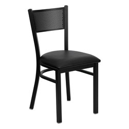 Flash Furniture - Hercules Series Black Grid Back Metal Restaurant Chair with Black Vinyl Seat - Provide your customers with the ultimate dining experience by offering great food, service and attractive furnishings. This heavy duty commercial metal chair is ideal for Restaurants, Hotels, Bars, Lounges, and in the Home. Whether you are setting up a new facility or in need of a upgrade this attractive chair will complement any environment. This metal chair is lightweight and will make it easy to move around. For added comfort this chair is comfortably padded in vinyl upholstery. This easy to clean chair will complement any environment to fill the void in your decor.
