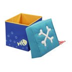HABA Pirate's Treasure Seating Cube - The padded lids are comfortable to sit on and inside there is lots of room for building blocks, snuggling animals or secret treasures. With printed compass in lid.