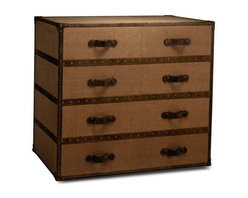 """BSEID - Canvas Truck Styled Chest by BSEID - For the traveler at heart. This fantastic chest of drawers echoes the look of an old steamer trunk with its brass reinforced corners, leather drawer handles and wood detailing. Expertly covered in tan canvas keeping the with the natural appeal. Plenty of storage space for any bedroom. (SAR) 45"""" wide x 18"""" deep x 40"""" high"""