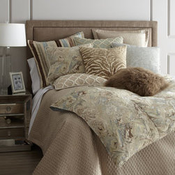 """Horchow - Queen Quilt, 94"""" x 98"""" - Gorgeous bed linens in soothing hues turn the bedroom into a island of tranquility. From Isabella Collection by Kathy Fielder. Marbleized jacquard duvet covers of rayon/polyester have polyester backing in a shantung weave. Ogee pillows, polyester/cott..."""