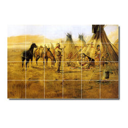 Picture-Tiles, LLC - Cowboy Bargaining For An Indian Girl Tile Mural By Charles Russell - * MURAL SIZE: 32x48 inch tile mural using (24) 8x8 ceramic tiles-satin finish.
