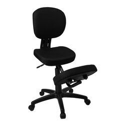 Flash Furniture - Ergonomic Kneeling Posture Office Chair - Ergonomic kneeling posture office chair. Thick padded Black fabric seat, back and knee rest. The comfort and support of a kneeling posture chair with the functionality of a conventional task chair. Pneumatic seat height adjustment. Tilt - tension adjustment. Heavy duty nylon base. Dual wheel casters. Adjustable Seat Height: 20 in. to 24 in.. Seat: 17 in. W x 13 in. D. Back: 15.5 in. W x 17.5 in. H. Knee Rest: 16 in. W x 12 in. D. Overall: 26 in. W x 31 in. D x 38 - 42 in. H (28 lbs.)