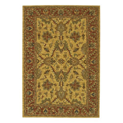 """Chandra - Traditional Pooja 5'x7'6"""" Rectangle Yellow-Red Area Rug - The Pooja area rug Collection offers an affordable assortment of Traditional stylings. Pooja features a blend of natural Yellow-Red color. Hand Knotted of New Zealand Wool the Pooja Collection is an intriguing compliment to any decor."""