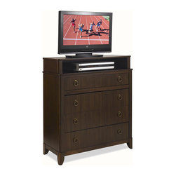 HomeStyles - Paris Media Chest - Four spacious drawer. Felt lined top drawer. Antique bronzed hardware. Made from solids zebra woods and veneers. Mahogany finish. Made in Indonesia. 36 in. W x 16 in. D x 42 in. H. Assembly Instructions