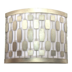 Worlds Away - Worlds Away Silver Leaf Mid Century Motif Wall Sconce LEWIS S - Silver leaf mid century motif sconce with white inner shade. Ul approved for two 40 watt candelabra bulbs