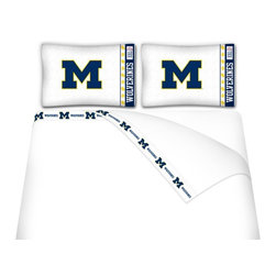 Sports Coverage - Sports Coverage NCAA Michigan Wolverines Microfiber Sheet Set - Queen - NCAA Michigan Wolverines Microfiber Sheet Set have an ultra-fine peach weave that is softer and more comfortable than cotton! This Micro Fiber Sheet Set includes one flat sheet, one fitted sheet and a pillow case. Its brushed silk-like embrace provides good insulation and warmth, yet is breathable. It is wrinkle-resistant, stain-resistant, washes beautifully, and dries quickly. The pillowcase only has a white-on-white print and the officially licensed team name and logo printed in team colors. Made from 92 gsm microfiber for extra stability and soothing texture and 11 pocket. Sheet Sets are plain white in color with no team logo. Get your NCAA Sheets Today.   Features:  -  92 gsm Microfiber,   - 100% Polyester,    - Machine wash in cold water with light colors,    -  Use gentle cycle and no bleach,   -  Tumble-dry,   - Do not iron,