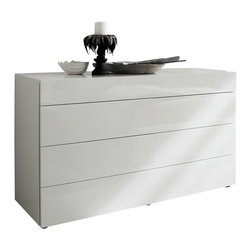 Rossetto - Start White Dresser - There is something so crisp and refined about a glossy white finish, as evidenced in the Rossetto Start White Dresser. It offers four drawers, allowing for easy storage and a more than adequate table top to easily house your favorite photos or other accent pieces. No hardware to break up the sleek look, this is truly Italian inspired. Easy to maintain, affordable and versatile enough to stand on its own or as part of the entire Rossetto Start White Collection.