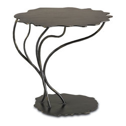 """Currey & Co - Currey & Co 4138 Serengeti Rust & Gold Occasional Table - Bring a hint of the wild African Serengeti to your home with the intricately designed Currey & Co 4138 Serengeti Rust & Gold Occasional Table. The 23-inch top is balanced on five creatively curved """"stems"""" with a base similar to the top that adds to the table's stability. These whimsical little tables can be placed beside chairs and are easy to move around and relocate for convenience no matter what the occasion."""
