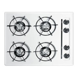 Summit Appliance - Summit Appliance Cooktop. 24 in. Recessed Surface Gas in White WTL033 - Shop for Appliances at The Home Depot. Summit's built-in gas cooktops offer quality performance at great value, with a range of sizes and styles to suit your kitchen needs. The WTL033 is a 24 in. wide cooktop with a scratch resistant porcelain surface in white. Four 9000 BTU open burners run on electronic ignition and natural gas (convertible to LP) and include durable porcelain enameled steel grates. A recessed top helps to contain spills. This product is designed and manufactured in the USA.