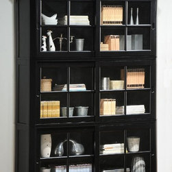Homelegance - Hanna Barrister Bookcase in Black - Barrister Bookcase. Glass panel sliding doors. 3 stackable enclosed shelves. Club feet. Black color. 64 in. W x 16 in. D x 83.5 in. H