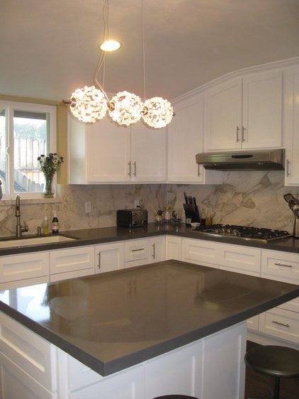 Contemporary  Modernly traditional white kitchen