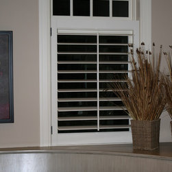 """Lafayette Venetian Blind - Wood Shutters - Wooden Shutters with 3 1/2"""" louvers installed cafe style"""