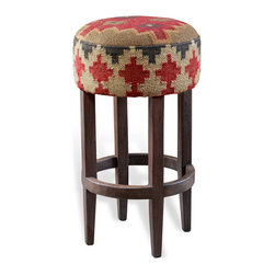 Kathy Kuo Home - Jacek Rustic Lodge Kilim Upholstered Bar Stool - We love how flexible and stylish kilim wool upholstered furniture can be, easily reading as rustic lodge or global bazaar style depending on the surrounding room. This kilim barstool offers comfort, style and great transitional appeal.  We'll toast to that!