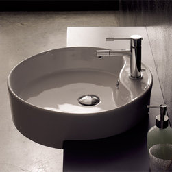 Scarabeo - Round White Ceramic Semi-Recessed Sink - Contemporary semi-recessed round white ceramic sink. Single hole with overflow. Made in Italy by Scarabeo. Round ceramic sink. Semi-recessed. Single hole with overflow. From the Scarabeo Geo Collection. Standard drain size of 1.25 inches.