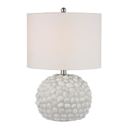 Joshua Marshal - One Light White Shell White Linen Shade Table Lamp - One Light White Shell White Linen Shade Table Lamp