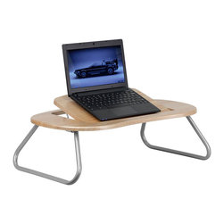 Flash Furniture - Flash Furniture Angle Computer Table with Dark Natural Top - Flash Furniture - Mobile Laptop Carts - NANJN2779GG - This portable table is perfect when lounging around the house to complete work related tasks or to just browse the internet. The main work surface tilts to help you type with ease. The folding legs lock into place by pushing legs back into position. [NAN-JN-2779-GG]