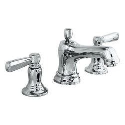 Kohler Bancroft Widespread Faucet - The Bancroft collection from Kohler is a classic and timeless design - in the faucets, tub and shower systems, etc. It's a style that works in any bathroom. Multiple finishes available and comes with the option of white ceramic handles.