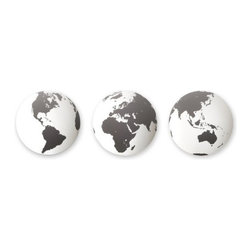 Umbra - Umbra Globo Mirrored Wall Decor Tiles, Set of 3 - Bring the whole world together in one room with this set of three Globo mirrored wall decor tiles by Umbra. Inspired by the use of maps and globes in home decor, the designer changes it up by using satellite imagery of the Earth from three different angles so that a 'globe' can now be mounted to the wall. Great for both home and office, Globo can be a nod to global culture, travel, science, business, or earth-friendly values.