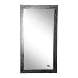 Rayne Mirrors - American Made Black Smoke Full Length Mirror - Add visual interest with this unique shiny black frame with a gray brushed grain design.  This tall full length mirror is perfect to hang or lean against a wall.  Rayne's American Made standard of quality includes; metal reinforced frame corner  support, both vertical and horizontal hanging hardware installed and a manufacturers warranty.