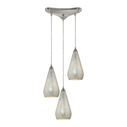 Elk Lighting - Elk Lighting 546-3SLV-CRC 3 Light Pendant in Satin Nickel w/ Silver Crackle - 3 Light Pendant in Satin Nickel w/ Silver Crackle belongs to Curvalo Collection by Elk Lighting Individuality Is What Defines This Exquisite Line Of Hand Blown Glass. Each Piece Is Meticulously Hand Blown With Up To Three Layers Of Uncompromising Beauty And Style.  Pendant (1)