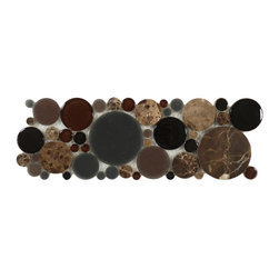 """Euro Glass - Bubble Twilight Circles Brown Lagoon Series Glossy and Frosted Glass and Stone - Sheet size: 4"""" x 12"""""""