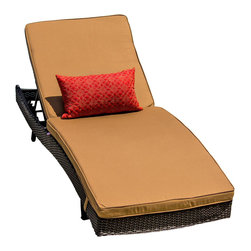 Lakeview Outdoor Designs - Providence Resin Wicker Patio Chaise Lounge - The Providence collection balances long lines with sloping angles for a modern approach to outdoor furniture. The back of the chaise lounge allows you to choose which angle is most comfortable and also folds all the way flat. The chaise lounge includes 4-inch thick canvas camel cushions made with washable, Sunbrella fabric that will not fade in the sun. The top-grade Viro all-weather resin wicker is made using an exclusive technique creating beautiful synthetic fibers that are completely colored throughout and not just on the outside. The superior quality and meticulous construction ensures your furniture will not crack, peel or fade from season to season or in extreme weather conditions (-96 to 176 degrees). The wicker is then hand-wrapped over a hidden, powder-coated and rust-resistant aluminum frame with non-marking, adjustable leveling feet for support and durability.