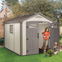 Keter Orion 8 x 9 ft. Storage Shed - If your lawn mower didn't need a place of its own like you'd find in the Keter Orion 8 x 9 ft. Storage Shed, you could just let it sleep at the foot of your bed every night. While that may work for you, the rest of your family will definitely appreciate the ample storage space inside the steel frame and polypropylene-paneled construction of this attractive and durable shed. An integrated skylight, windows on each door, and an integrated side window let you take advantage of natural illumination, while the opening side window and ventilation panels help you control moisture, odors, and pests. A water collection gutter is built into the roof design, helping keep your belongings safe and dry during the rainy season. Heavy-duty hinges, handles, and a locking bolt make sure that you have access and security when you need it. Engineered for long-lasting strength, this attractive and all-climate outdoor shed will give you approximately 520 cubic square feet of storage to help you get your garden, pool, or garage organized and ready to enjoy. This shed can be assembled in a day. Dimensions: Interior dimensions: 7.6W x 8.6D x 7.9H feet Exterior dimensions: 8.3W x 9.4D x 8.3H feet For your convenience, liftgate service is included with this purchase. This means that upon delivery, the carrier will use a liftgate on the truck to lower your item to the ground. You will then need a dolly or handtruck, or assistance with the product from that point on. Many retailers charge for this service of getting the package off the truck or require the customer to do it themselves.About KeterFor over 60 years, Keter Plastic has proven its commitment to innovation, quality, and design by continually meeting changing needs and trends. Keter's product range reaches a consumer base across the world, focusing on outdoor furniture and storage with a commitment to the environment.