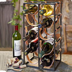 Pantry Collection Leather Wine Bottle Holder - I've started to see this style pop up in several places recently. The iron and metal mixture on this middle-range rack that holds 10 bottles is really different and has a bit of an equestrian vibe.