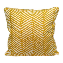 """Pillow - Grande Zig Zag - Gambol Gold - An Oomph favorite - subtle shades of rain-washed, camel or charcoal on cream ground, linen fabric. An updated classic that compliments our neutral color palette. Quiet oomph. Dimensions: 22"""""""" square. Insert: 90/10 feather/down with zipper for ease of cleaning. Made in U.S.A."""