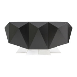 EcoFirstArt - Blue Star Credenza - Capture the stars with this one-of-a-kind, cosmic black credenza that is out of this world. Its three raised pyramids doors represent the three stars of Orion's belt, and the center door opens to reveal a stunning blue star that expands into four individual pneumatic touch motorized drawers. The top is an inset of back-painted glass and makes an excellent display surface for your most prized celestial artifacts.