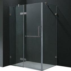 Vigo - Vigo 32 x 48 Frameless 3/8in.  Clear/Brushed Nickel Shower Enclosure - Update your bathroom with this uniquely stylish and totally frameless Vigo rectangular-shaped shower enclosure