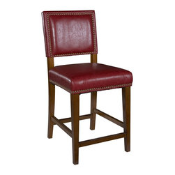 """Linon Home Decor - Linon Home Decor Brook Red Counter Stool X-U-DK-10-DER2320 - Create a contemporary or classical look in your kitchen, dining or home pub area with the sleek shape and style of this medium walnut finish 24"""" Brook Counter Stool.   Solid wood legs give this courtly stool additional strength ensuring years of everyday use.  The padded cushion will provide optimum comfort for you and your guests and is topped with durable rich red vinyl that is stain resistant, fade resistant and features tightly woven threads that won't break, mat or peel.   Classic nail head trim. 275 pound weight limit."""