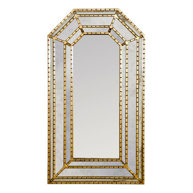 Kathy Kuo Home - Ross Hollywood Regency Hexagonal Gold Wall Mirror - This hand-carved, gold-leaf mirror will enchant and intrigue visitors with a uniquely distressed, hexagonal frame. An elongated, portrait shape graces hallways, entrances  and bedrooms, anywhere that needs a luxurious lift.