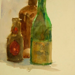 Bottle Trio, 1983, Painting - Original watercolor still life painting of three colored glass bottles, 1983. Dated lower right.