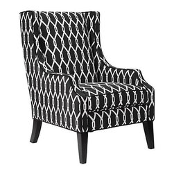 Protege Wing Chair - Quite the statement chair! I think this Jonathan Adler pillow could work really nicely with this.
