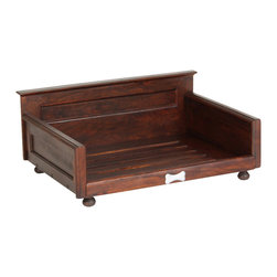 "Wooden ""Traditional""  Pet Bed Frame, Small - A warm cherry finish and a transitional design come together to create the sophisticated style of this gorgeous elevated pet bed. With the recessed panels in the headboard and sides and the bone accent design, this dog bed will complement your bedroom set with its rich style."