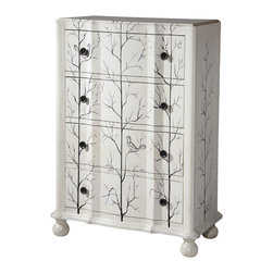 None - Huntsley 4-drawer Winter White Accent Chest - Huntsley is a tall,accent chest with a hand painted aviary scene on a white finish. Made from wood,this charming chest features four generously sized drawers and uniquely shaped front.