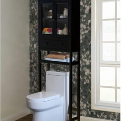Jeco Space Saver Over-the-Toilet Cabinet - Brown - Making sure that everything has a home isn't the goal of organization; it's just a byproduct when the real goal is that relaxing, stress-free feeling that you get from being in a clutter-free space that has the aesthetic style you want while still giving you the tools that you need - that's why we have the Jeco Space Saver Over-the-Toilet Cabinet - Brown. This all-in-one unit is crafted from rugged MDF wood with a rich, brown finish and traditional style. Up top you have a pair of glass-paned doors that open to reveal two levels of storage. A pair of pull-out drawers are perfect for smaller items, and the lower shelf is ideal for towels or decorative objects. The entire unit assembles easily and fits behind most standard lavatories.About Jeco Inc:Whether it's a timeless, traditional design you're looking for, or something more modern and contemporary, Jeco Inc. likely has something to suit your relaxation needs. Offering numerous types of patio furniture, indoor furniture, water fountains, home decor and pet products, the company, formed in 2009, works with designers that search the world for inspiration and create innovative yet functional products that are built with quality and durability.